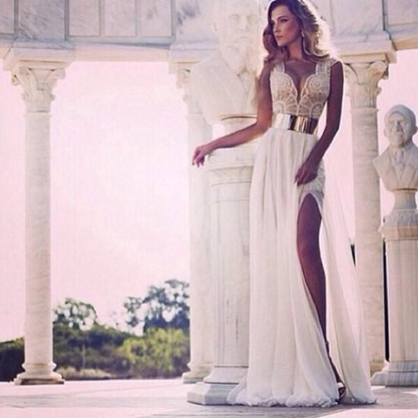 dress long dress long prom dress prom dress elegant dress white dress lace dress metal gold belt