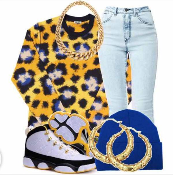 sweater lepoard print jordans chunky necklace pants shirt