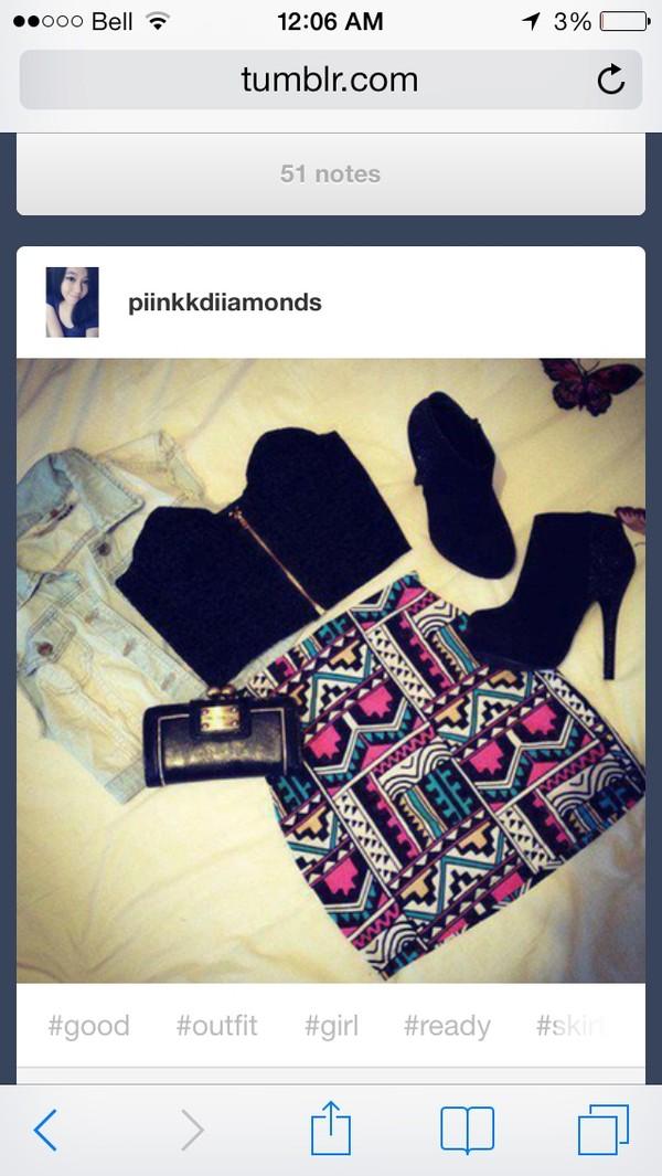 skirt tribal skirt high heels bustier vest shoes tank top jacket bag