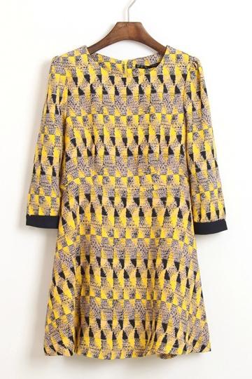 Retro Half Sleeve Graphic Print Dress [FXBI00336]- US$34.99 - PersunMall.com