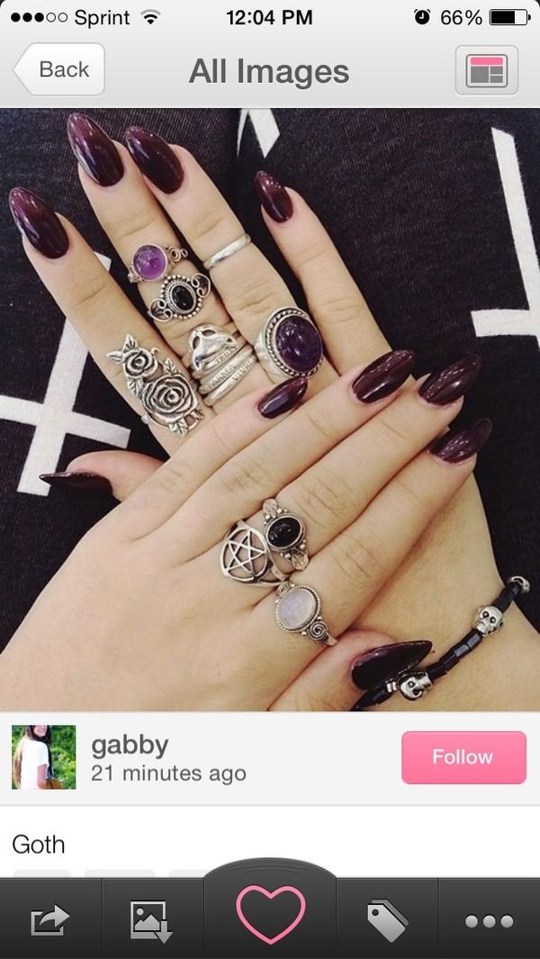 jewels ring black nails grunge goth hipster nail polish