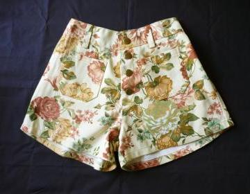 High Waist Shorts Floral Shorts Cream Brown With Brown Nude Brown Pink Floral Inspired Shabby Chic S on Luulla