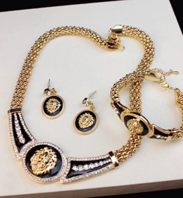 jewels gold jewelry lion necklace bracelets earrings big black fashion