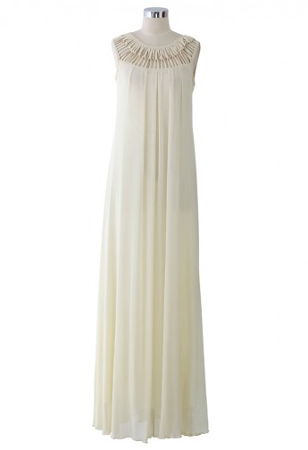 Cage Cut Out Neckline Maxi Dress in Ivory - Retro, Indie and Unique Fashion