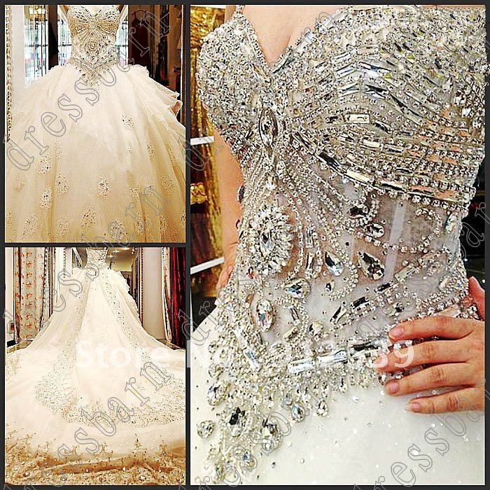 2013 Beaded Organza Empire Ball Gown Sweetheart Neckline bride dress wedding Dress Eveing Dresses  All size-in Wedding Dresses from Apparel & Accessories on Aliexpress.com