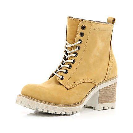 Brown block heel worker boots £65.00 | Fashion......x