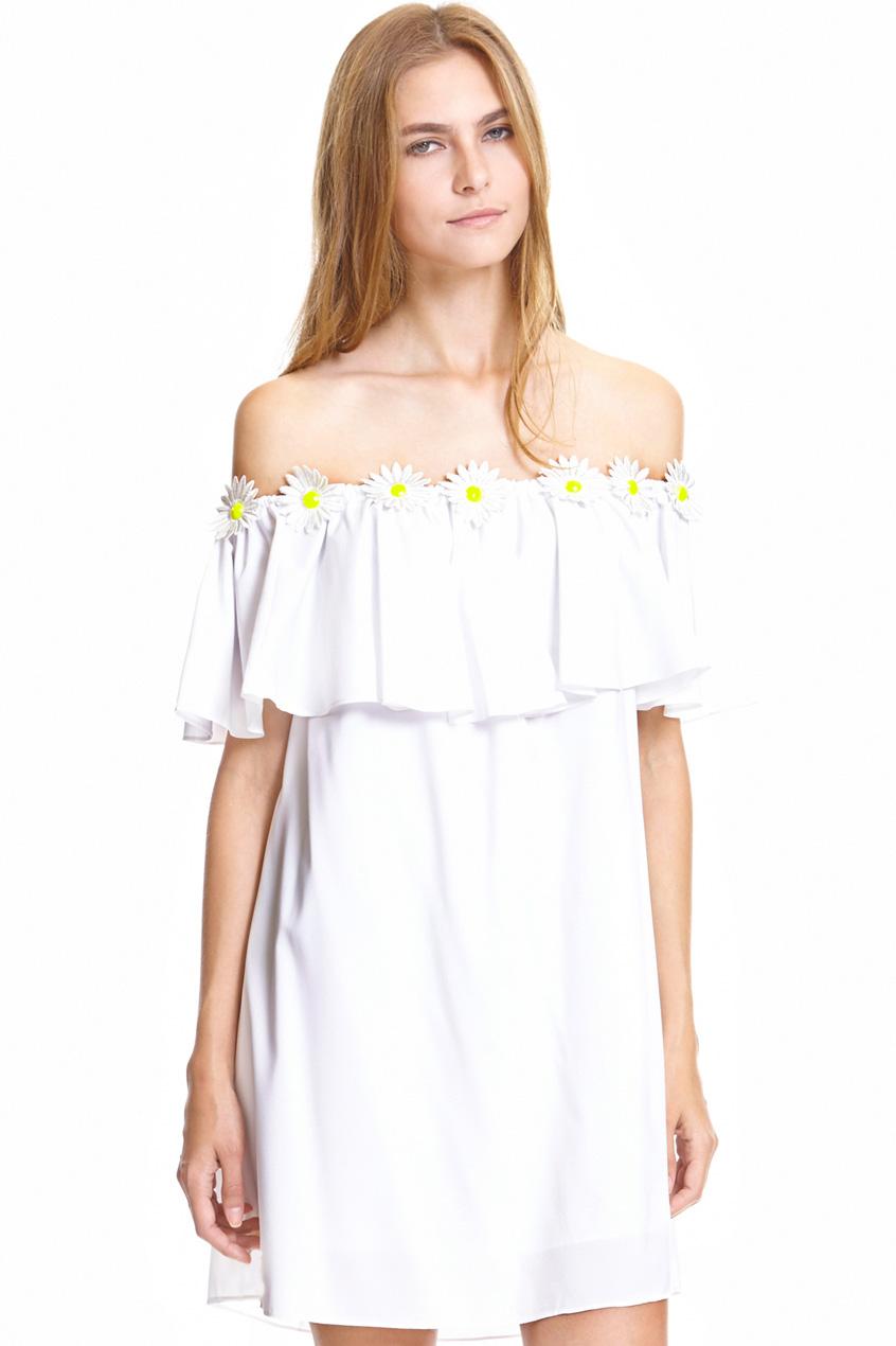 ROMWE | Daisy Embroidery Embellished Flouncing White Dress, The Latest Street Fashion