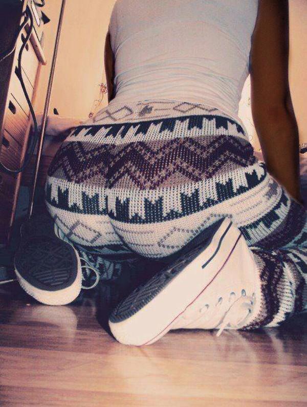 pants aztec leggings brown white taylor gang winter swag