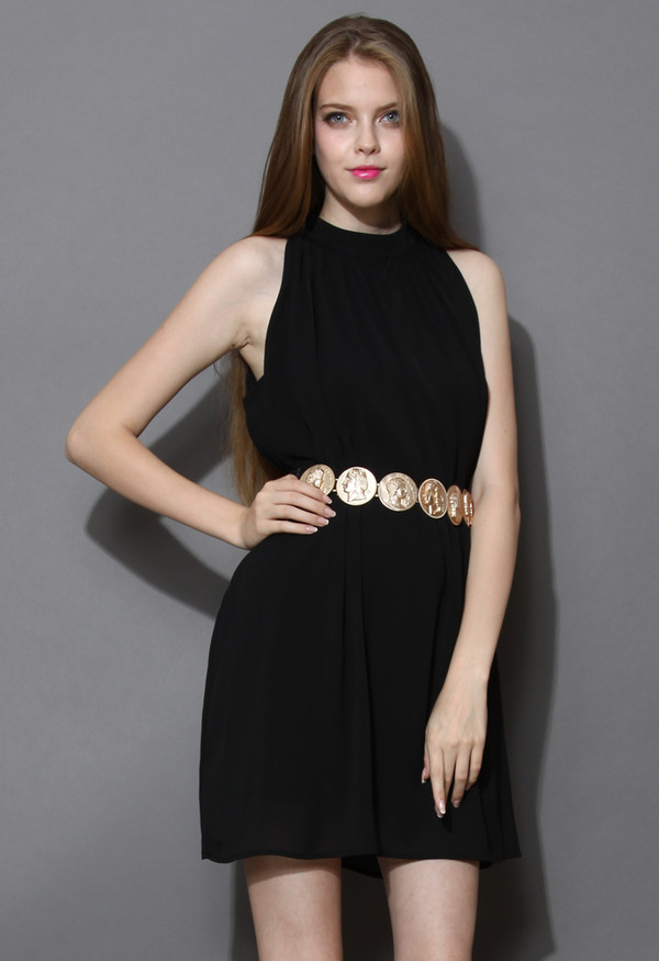 dress ethereal belted chiffon black