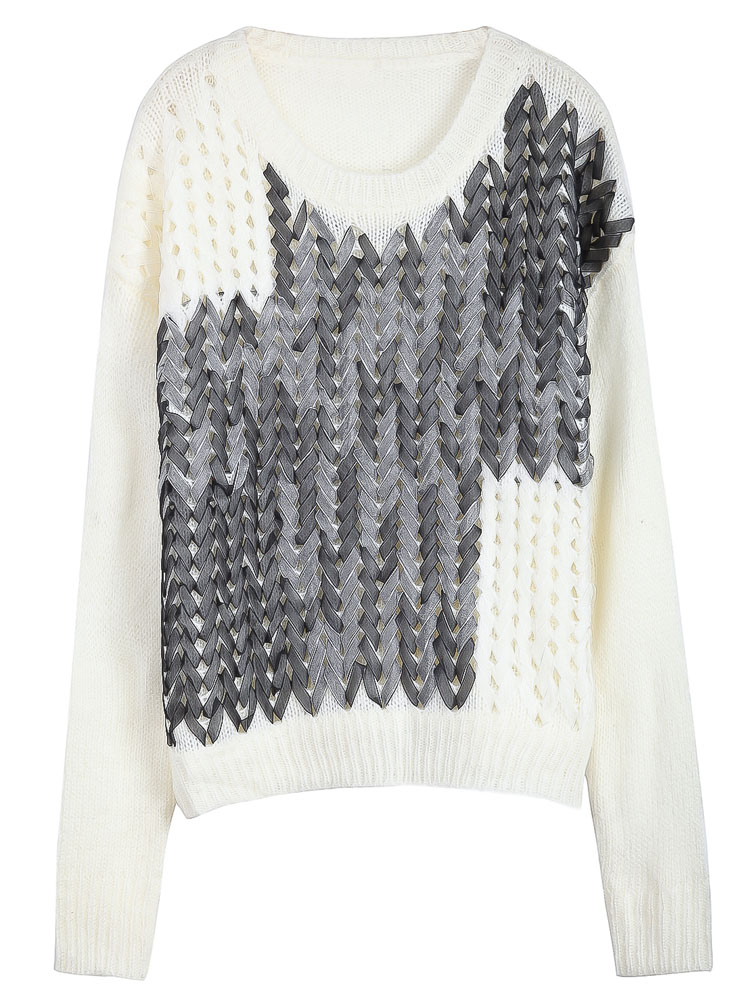 White Handmade Lace Up Front Sweater - Sheinside.com