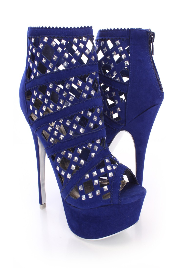 Royal Blue Studded Cut Out Booties Faux Suede