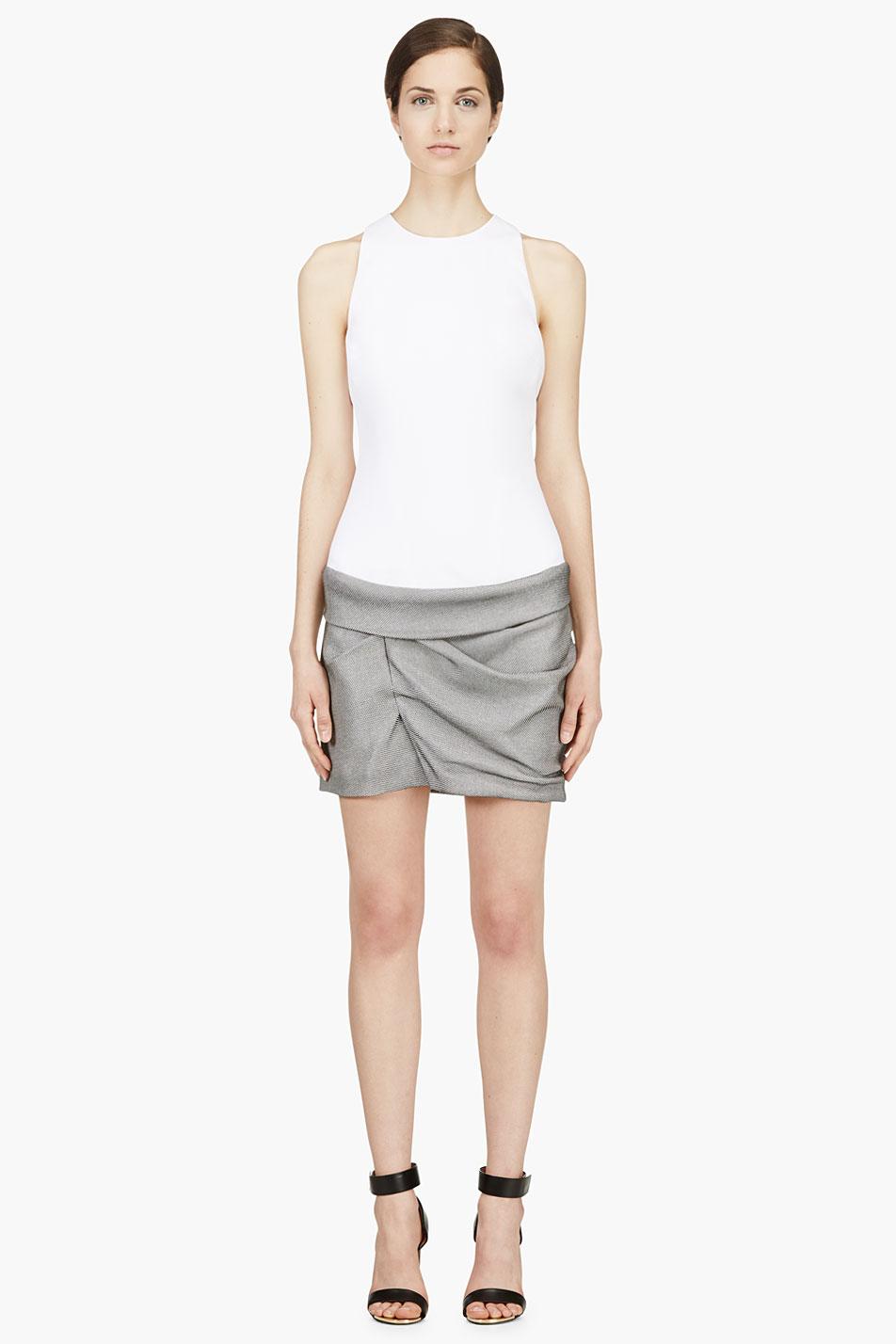 mugler white and grey contrasting gathered dress