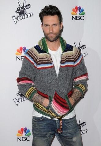 sweater the voice gray zip up sweater adam levine