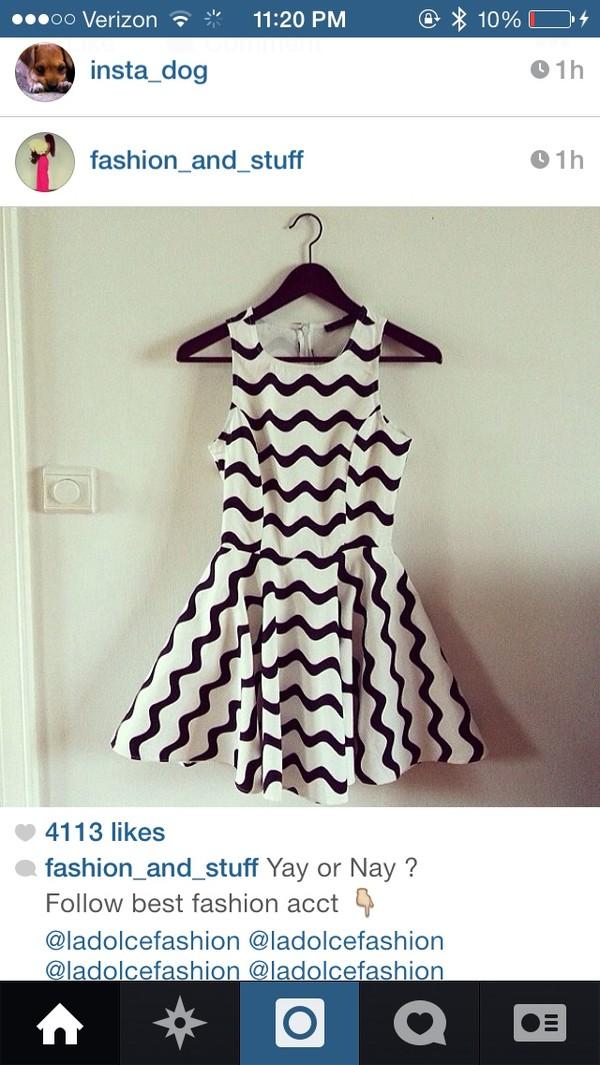 dress black white dress chevron chevron