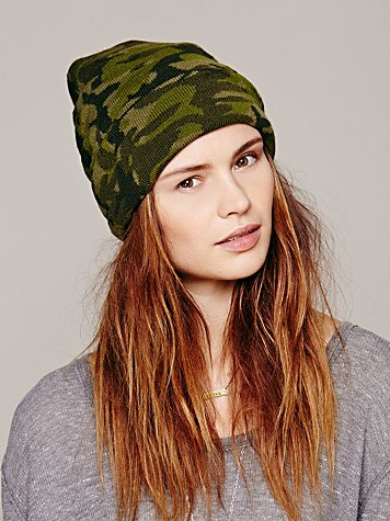 Free People  Jaquard Print Pom Pom Beanie at Free People Clothing Boutique