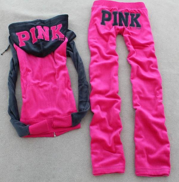 pants pink tracksuit hoodie sexy sweet victoria's secret pink by victorias secret jumpsuit