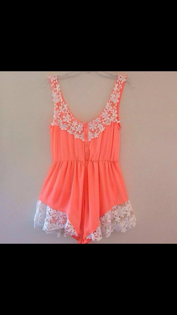 dress romper romper one piece summer neon cute lace spring fashion style