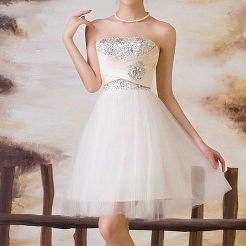 [ghyxh36100]Sexy Elegant Flower Rhinestone Strapless Bubble Party Dress on Luulla