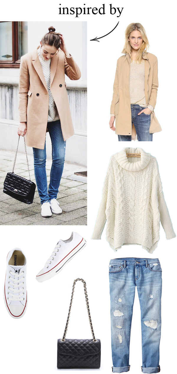 m loves m coat sweater jeans bag shoes