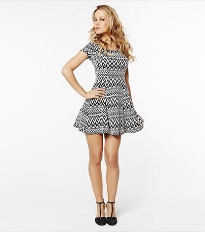 Zig Zag Jacquard Flare Dress