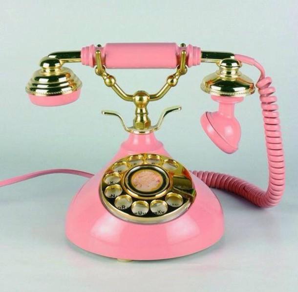 earphones telephone pink gold vintage glamgerous old school home decor wheretoget. Black Bedroom Furniture Sets. Home Design Ideas