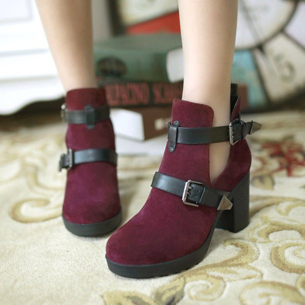 shoes burgundy double buckle booties