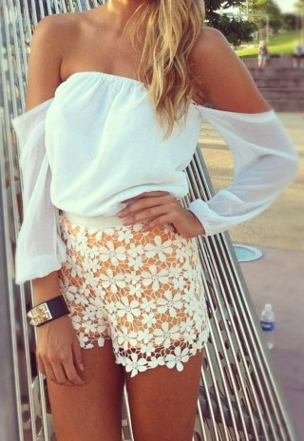 white sexy outfit shorts shirt cute outfits