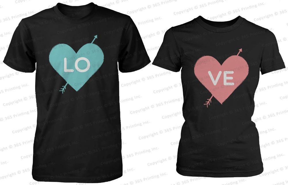 Cute His and Her Matching Shirts Love Arrow Struck Hearts Couples T Shirts | eBay