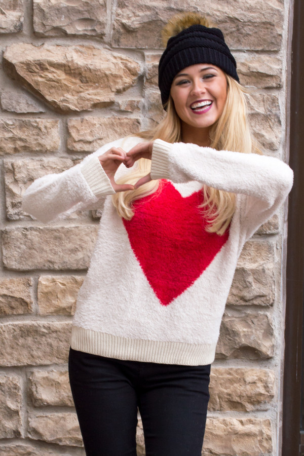 Online Shop 2015 New Fashion Girls Sweet Red Heart Knitted