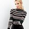 Petite black striped long sleeve ribbed jumper