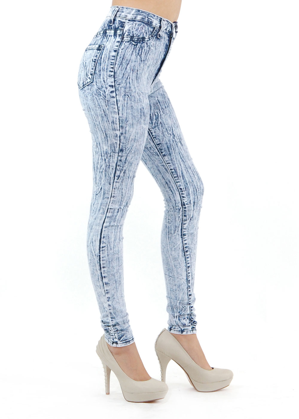 High Waisted Jeans - Skinny Jeans - Acid Wash Jeans - $36.99