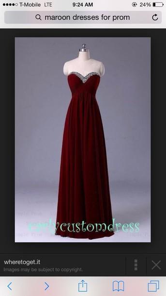 dress burgundy dress prom gown