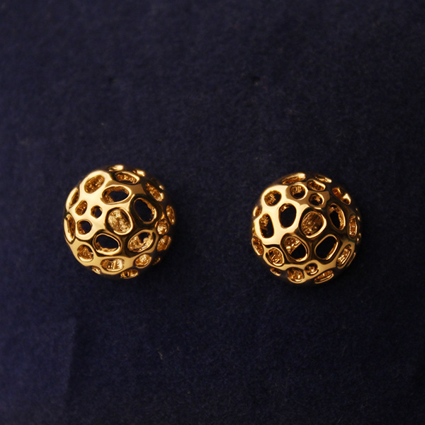 [grlhx130009]Noble Hollow Out Flower Golden Earrings on Luulla