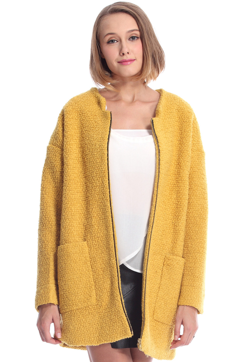 ROMWE | Pocketed Zippered Yellow Coat, The Latest Street Fashion