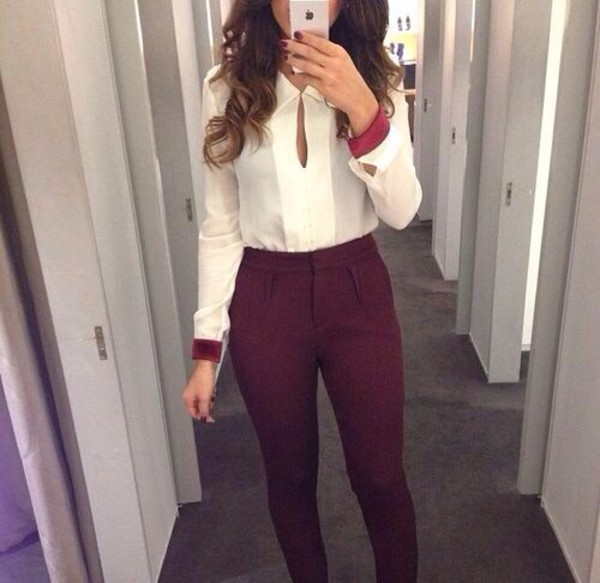 blouse cuffs burgundy pants white blouse white shirt