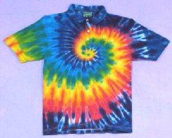 Tie-dye Rainbow Spiral Golf shirts by Dyed in Vermont
