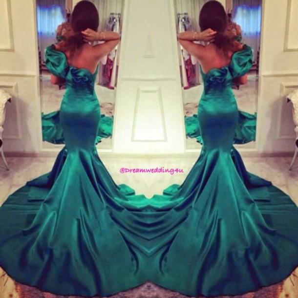dress long dress evening dress grenn