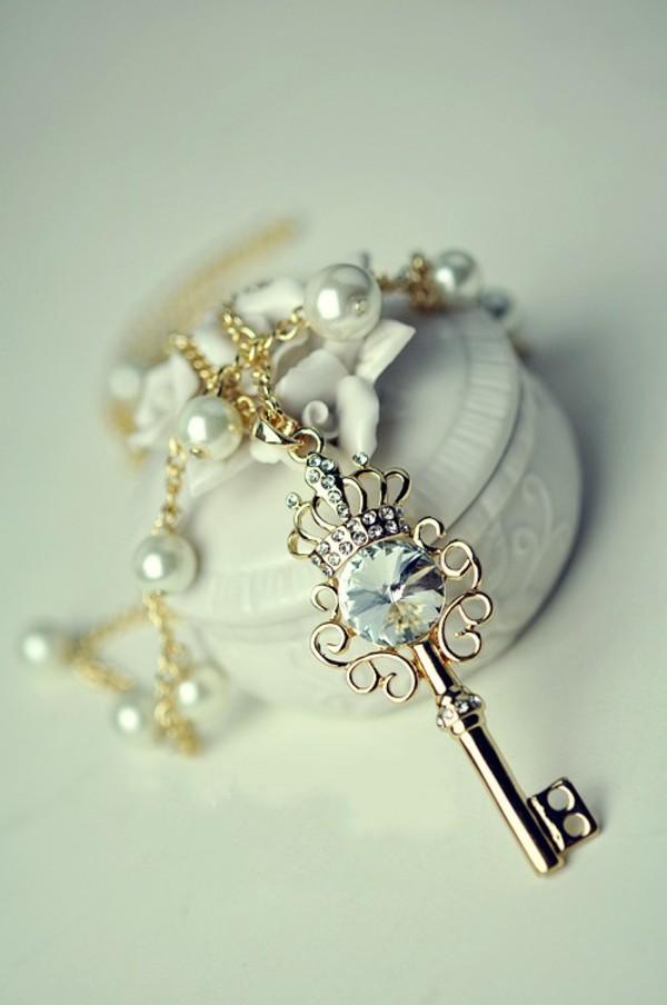 jewels key crystal pear shiny necklace sparkle