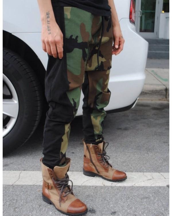 pants camouflage camo pants boots plaid green