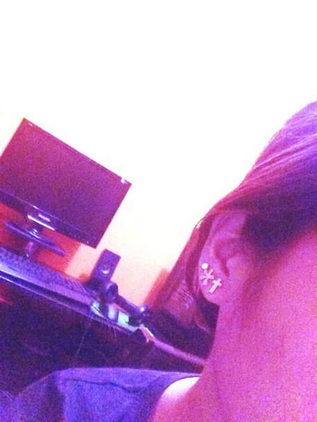 jewels earings cross trendy angheeeel shimmer jewels