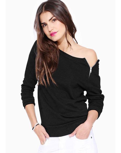 blouse look lookbook top off the shoulder jumper sweater streetwear zipper shirt