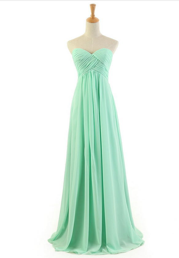 Aliexpress.com : Buy 2014 Hot Selling Chiffon Sweetheart Floor Length Mint Green Long Bridesmaid Dress Cheap Bridesmaid Dress 2014 Free Shipping from Reliable dresses leopard suppliers on Simple Dress Store