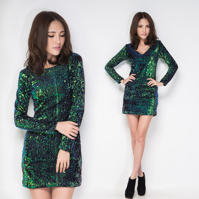 Sexy Women 2014 PARTY New Fashion Paillette Vneck Long Sleeve Embroidery EveningTwo way wear Green dress For Spring Winter dress-inDresses from Apparel & Accessories on Aliexpress.com