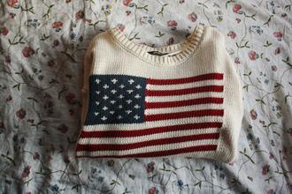 sweater red usa white blue american flag us flag lovely pretty flag jumper