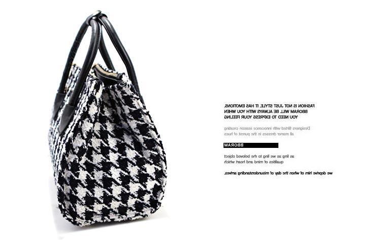 Houndstooth Woolen Handbag in Black [FPB775] - PersunMall.com