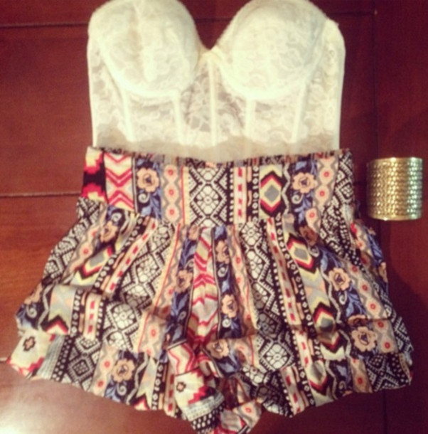 dress romper white lace romper lace white white lace lace white tribal pattern tribal pattern blouse skirt shorts pattern High waisted shorts laced shirt outfit
