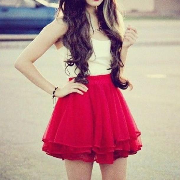skirt red short layered