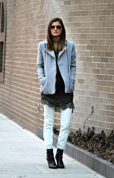 to be bright blogger lace dress jacket dress jeans shoes
