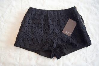 shorts zara black shorts detail pattern pants where to get this pants? black