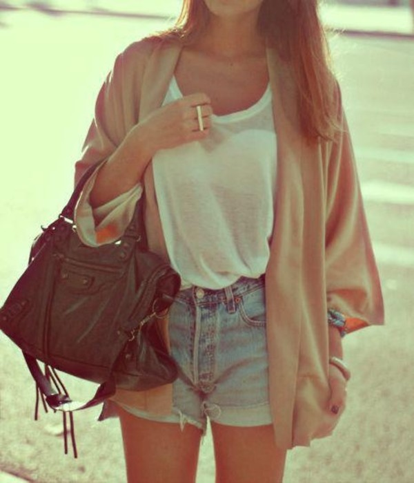 sweater cardigan beach casual clothes bag blouse jewels shorts white ring two finger ring